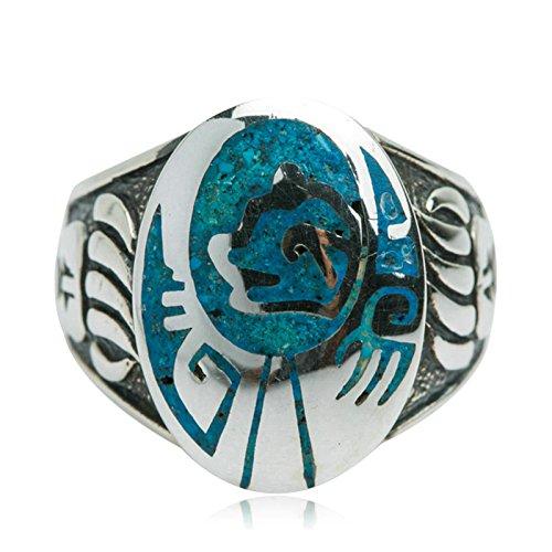 Beydodo Mens Silver Ring, Blue Gemstone Ring Size 11 Punk Biker Ring Bands by Beydodo