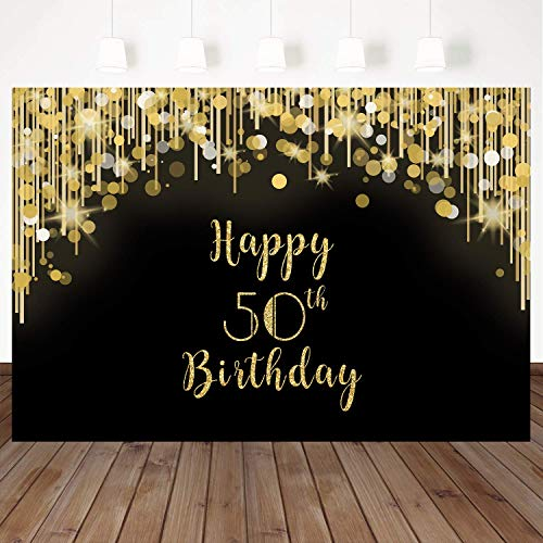 Mehofoto Happy 50th Birthday Backdrop Gold and Black