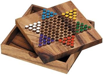 LOGICA GIOCHI Art. Damas Chinas - Juego de Mesa de Madera Preciosa - Juego de Estrategia Multijugador - Versión de Viaje: Amazon.es: Juguetes y juegos