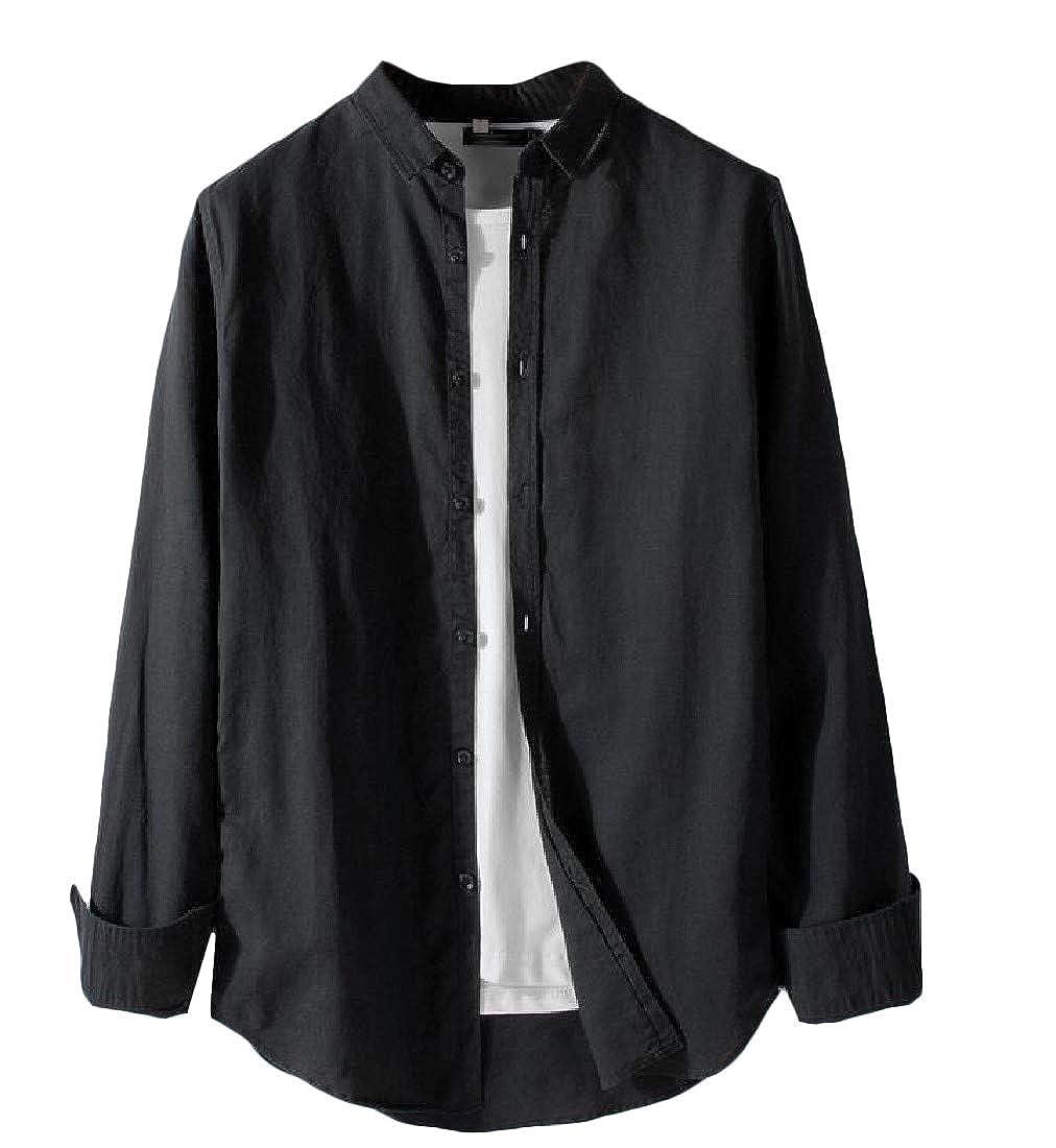 Pandapang Mens Button Up Cotton Linen Long Sleeve Solid Color Casual Shirts
