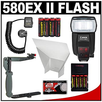 Canon 580EX II Speedlite Flash 8 Batteries Amp Charger Bounce Reflector