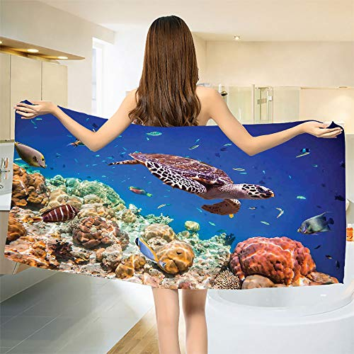 (smallbeefly Ocean Bath Towel Lonely Old Tropical Sea Turtle Swimming Shoal Sea Sponges Maldives Image Customized Bath Towels Navy Blue Tan and Brown Size: W 19.5