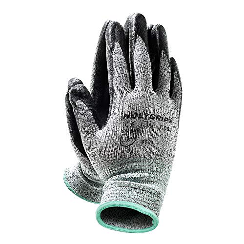 MicroFoam Nitrile Coated Work Gloves with Seamless Knit Nylon Shell, Non-Slip Safety Work Gloves Gardening Gloves with Durable Power Grip, Stretch Fit, Screen Touch - Large (3 Pairs)