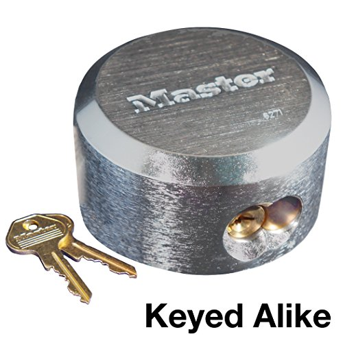 Master Lock 6271KA 4 Pack 2-7/8in. ProSeries Reinforced Hidden Shackle Rekeyable Pin Tumbler Keyed Alike Padlock, Chrome (Keyed Shackle Padlock)