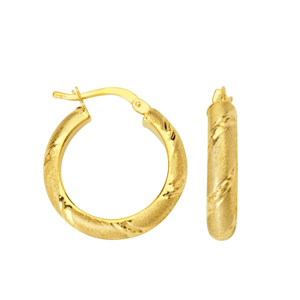 4X15 Mm Hoop Earring Dc Stripe Accent Hoop Earrings