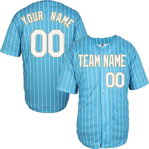 Pinstriped Custom Baseball Jersey for Men Women Youth Full Button Embroidered Your Name & Numbers S-8XL - Make Your Design]()