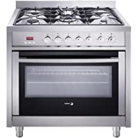 Fagor RFA-365 DF Dual Fuel Range with Dual Convection, 5 Gas Burners and 7 Cooking Programs, 36-Inch