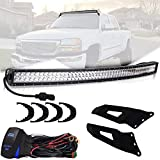 "TURBOSII 288W 50"" Curved Row LED Light Bar with Upper Roof Windshield Mount Brackets For Chevy Silverado 1500 2500 Chevy Avalanche Chevy/Chevrolet Tahoe Suburban 1500/2500 GMC Sierra Yukon/Yukon XL"