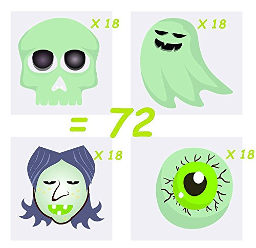 72 Halloween Temporary Tattoos for kids, Glow in the Dark, 4 Cute Designs, Great Halloween Party Favor, By 4E's Novelty (Halloween Pumpkin Tattoo Designs)