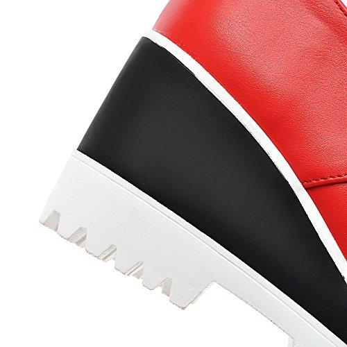 AllhqFashion Damen Rund Zehe Schnüren PU Leder Hoher Absatz Pumps Schuhe Rot