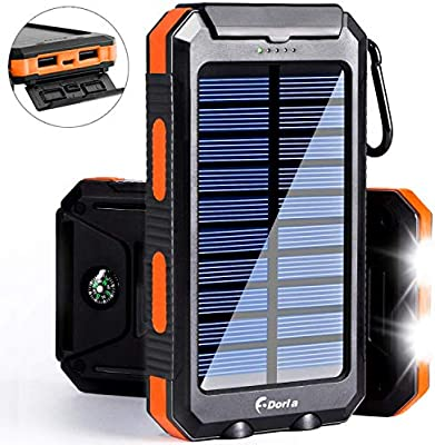 Compass Dual Led Torch For Camping Travel Ggx Energy 10000mah Waterproof Solar Powered Portable Battery Power Pack