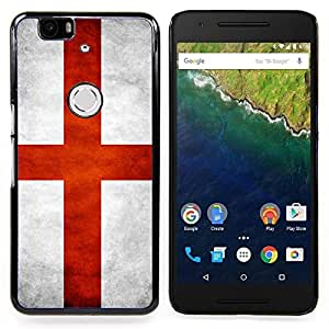 "Qstar Arte & diseño plástico duro Fundas Cover Cubre Hard Case Cover para Huawei Google Nexus 6P (Bandera nacional de la Serie-Inglaterra"")"
