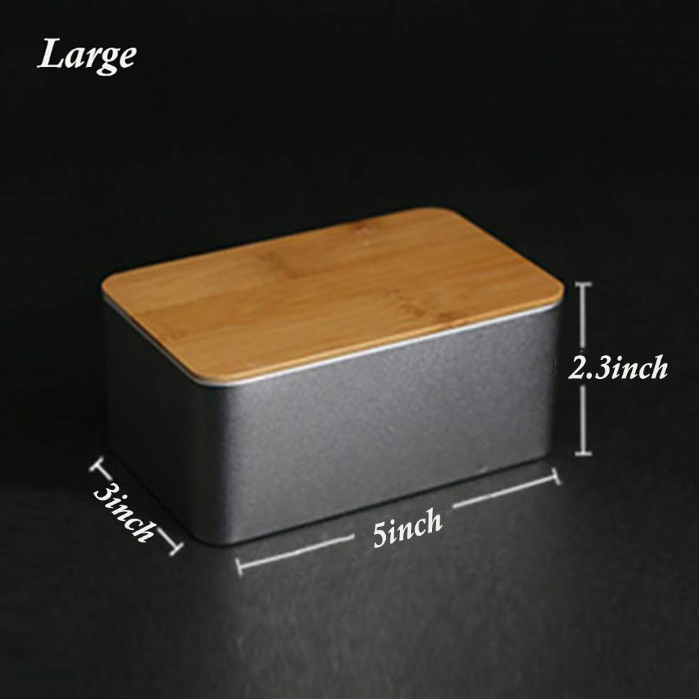 2pcs Natural Bamboo Top Tin Box Portable Tea Seed Spice Candy Storage Home Basic Stylish Decorative Containers (Large)