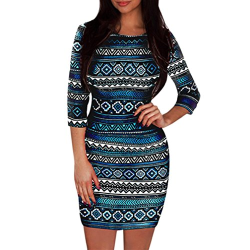 Beautyfine Pencil Dress Women 3/4 Sleeve Skinny Slim Sexy Bohe Print Short Mini Dress