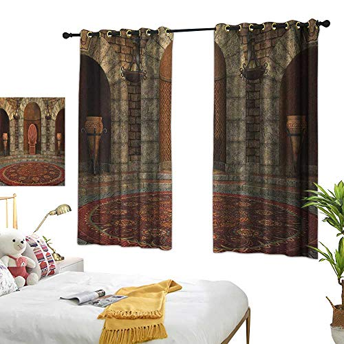 Bedroom Curtains W72 x L45 Gothic,Throne of King in Vintage Style Palace Chandelier Medieval Architecture Theme, Burgundy Grey Living Dining Room Curtain 2 Panels ()
