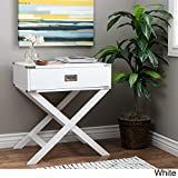 X Base Wood Accent Table (White) (White) For Sale