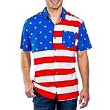 VonVonCo Man American Flag Print Short Sleeve Pocket Buttons Printed T-Shirt Blouse