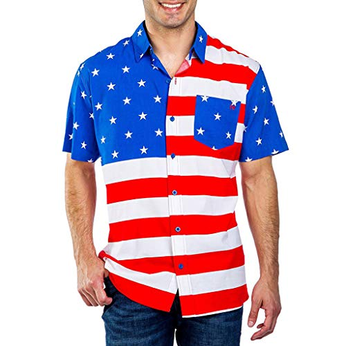 Price comparison product image Sunsee Man American Flag Print Short Sleeve Pocket Buttons Printed T-Shirt Blouse (3XL,  Multicolor)