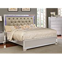 Major-Q Contemporary Modern Metallic Silver Finish Queen Size Bed with Crystal Tufted LED Lighting Headboard (SH52379Q)