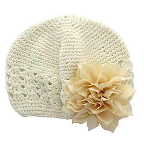 My Lello Little Girl's Crochet Beanie Hat with Flower One Size Ivory/Ivory