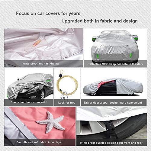 Tecoom HD Super Breathable Waterproof Windproof Snow Sun Rain UV Protective Outdoor All Weather Car Cover Fit 201-218 inches Sedan