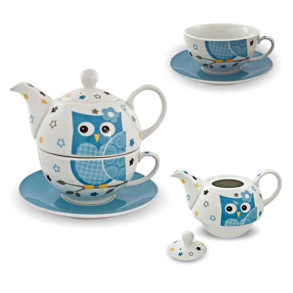 Th/é en porcelaine motif tea for one service /à th/é avec th/éi/ère et tasse avec soucoupe pour pot de fleurs bleu//blanc
