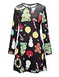 Ruiyige Womens Christmas Dress Snowman Xmas crutch Print Flared Swing Dress Black L