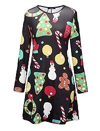 Ruiyige Womens Christmas Swing Dress Long Sleeve Santa Snowflake Colourful