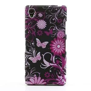 Jujeo - Carcasa de TPU para Sony Xperia Z1 C6903 y L39h, diseño de flores y mariposas, multicolor