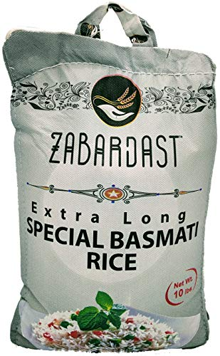 Cook Zest ZABARDAST Special Basmati Rice (Extra Long Grain White Basmati | 10 Lb Bag) - Gluten Free, All-natural Gourmet Rice/