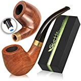 Scotte Tobacco Pipe Handmade Ebony Wood Root Smoking Pipe Gift Box and Accessories (Black&B)