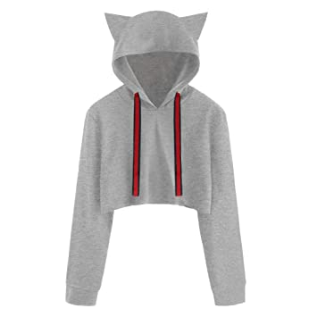 Clearance Sale! Hoodies Tops for Teen Girls, Iuhan Womens Girls Cat Ear Blouse Sweatshirt