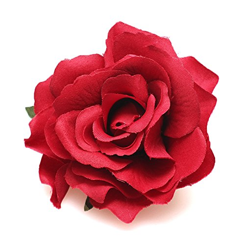 DreamLily Rose Flower Hair Clip Flamenco Dancer Pin up Flower Brooch BC10 (Big Red)]()