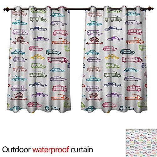 (WilliamsDecor Cars Home Patio Outdoor Curtain Various Types of Vehicles Bus Truck Garbage Truck Sports Car Vibrant Colored Design W55 x L45(140cm x)