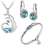 Diwali Gift - Om Jewells Combo of Crystal Jewellery Set/Necklace Set With Clip on Earrings and Designer Bangle Bracelet made with Blue and White Crystal Elements for Girls and Women CO1000072.