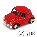 vw beetle model - Cute Vintage toy Car for Kids, VW Beetle 1:38 Diecast Play Vehicles Model,Classic Design Style, Lights&Sounds whit Multi-color, Great Gift (Red)