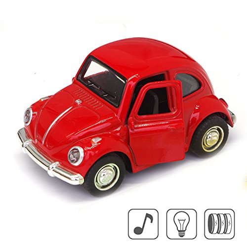 Cute Vintage toy Car for Kids, VW Beetle 1:38 Diecast Play Vehicles Model,Classic Design Style, Lights&Sounds whit Multi-color, Great Gift (Red) - Vintage Volkswagen Beetle