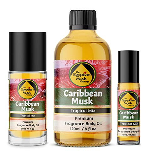 The Egyptian Musk Factory by WagsMarket - Caribbean Musk Perfume Oil for Men and Women, Choose from 0.33oz Roll On to 4oz Glass Bottle (0.33oz Roll On)