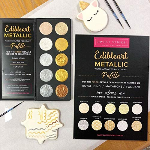 (Yolli Edible Art Decorative Metallic Paint Water Activated Palette by Sweet Sticks)