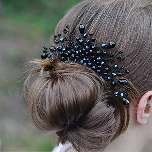 Yalice Black Rhinestone Bride Wedding Hair Comb Crystal Bridal Headpiece Hair Piece Hair Accessories for Women and Girls (Black)