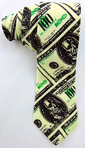 Hundred Dollar Bill Neck Tie Money Pattern Mens Fashion Accessory