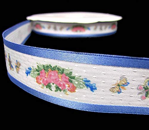 American Girl Felicity Butterflies Rose Flowers Country Blue Ribbon Sash ()