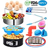Instant Pot Accessories Set,Compatible with 5.8,6,8 (Qt) for Pressure Cooker,Steamer Basket with Silicon Handle,Egg Rack, Egg Bites Mold,Tongs,Gloves,Sealing Ring,Baking Cups,Magnetic Sheets-20 Pcs