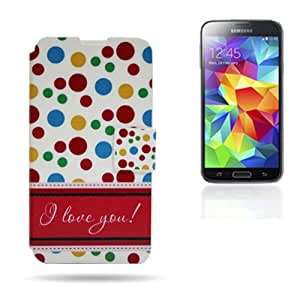 Funda Card Dibujo S. Galaxy S5 Love You Lunares