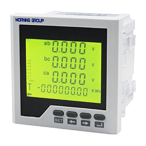 Morning Group 3 Phase LCD Digital Display Current Voltage Multifunction Energy Power Panel Meter With RS485 Modbus Communication For Distribution Box(3D3Y(Panel Size:3.783.78in)) ()