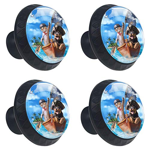 (Cat, Dog, Pirate. Cabinet Knobs Crystal Convex Lens with 3D Figure Display for Drawer Closet Pull Handle Elegant Knobs to Decorate Kidsroom Livingroom Kitchen Bathroom Pack of 4)