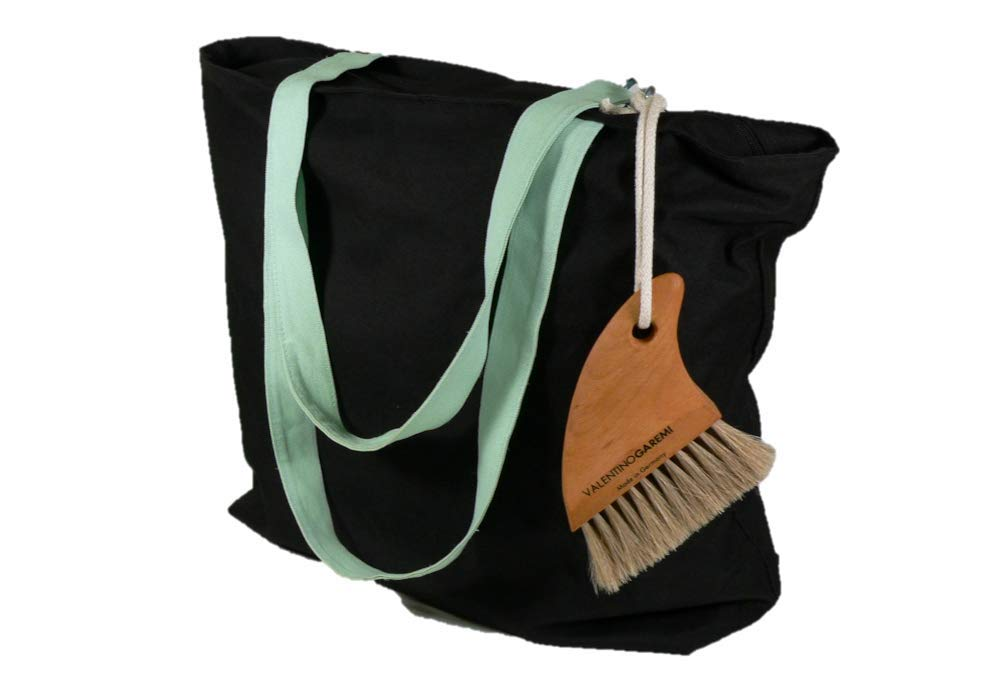 Valentino Garemi Sand Beach Cleaning Brush - Body Skin Feet Sand Remove Eliminate - Easy Beach Bag Clip - Genuine Soft Horse Hair, Shark Fin Design - Made in Germany