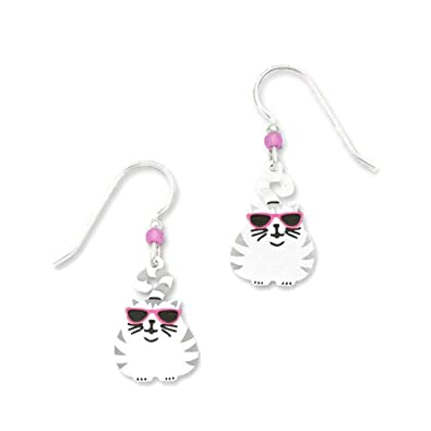 e876cc2d617d Image Unavailable. Image not available for. Color  Sienna Sky Grey   White Fat  Cat with Pink Glasses Silvertone Hook Earrings 1310