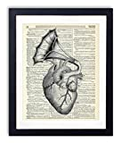Heart With Vintage Horn Illustration Upcycled Dictionary Art Print 8x10