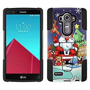 LG G4 Hybrid Case Merry Christmas Santa Claus and Reindeer 2 Piece Style Silicone Case Cover with Stand for LG G4